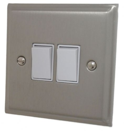 G&H DSN2W Deco Plate Satin Nickel 2 Gang 1 or 2 Way Rocker Light Switch